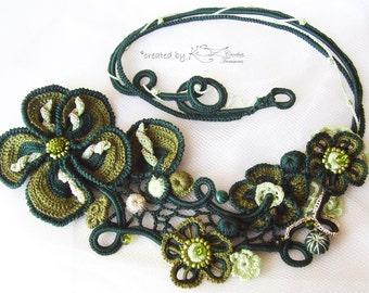 Crochet green necklace, Crochet choker, Green necklace, Irish crochet, Unique jewelry, Crochet flowers, Green crochet, Irish crochet flowers