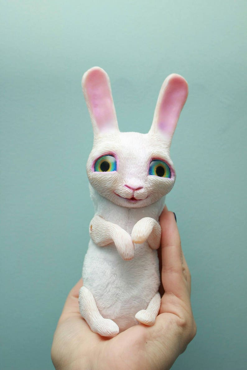 Ooak art collectible plush polymer clay white rabbit Cute white bunny toy figurine