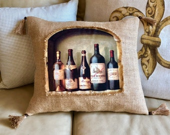 Wine Decor Tapestry Throw Pillow Wine Decorative Pillow Wine Lover Gift