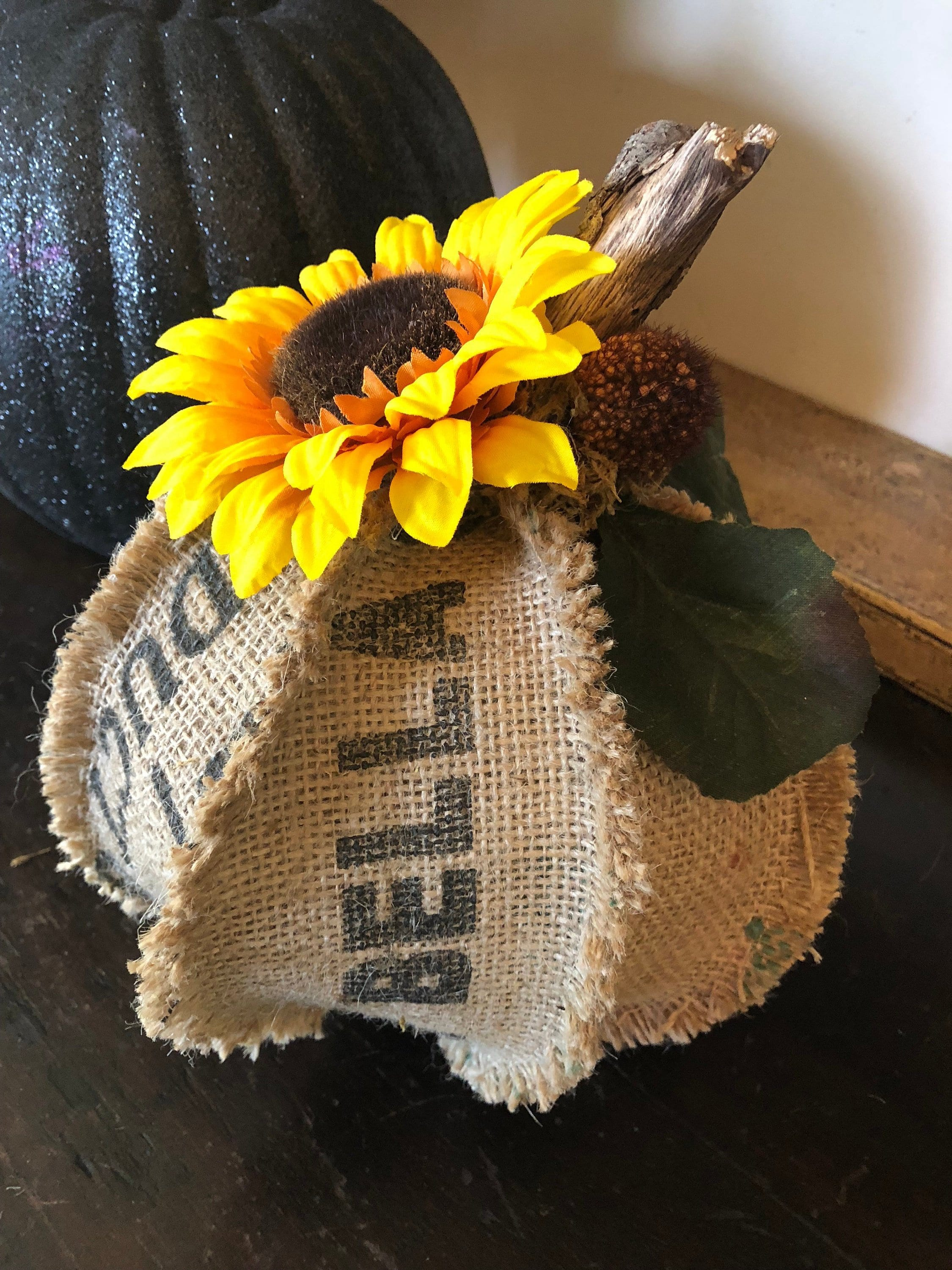Halloween Pumpkin Fall Home Decor Autumn Decor Halloween Decorations Farmhouse Rustic Upcycled Hippie Chic Shabby Chic Burlap Pumpkin Tuscan