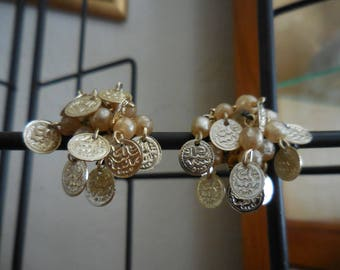 Earrings, Faux Pearls and golden Medallions, Cluster, Clip-on's, Vintage