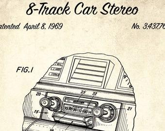 Stereo 8 track etsy 8 track car stereo patent print 1969 8 track player design patent blueprint art media room decor retro music gift garage decor malvernweather Choice Image