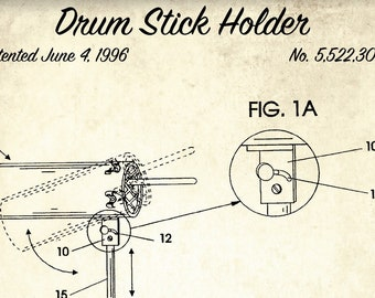 Drum stick patent etsy drum stick holder patent print retro 1996 patent poster drum blueprint art drum patent illustration music room decor musician gift malvernweather Gallery