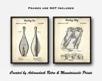 bowling pin & alley patent print set of 2 - bowling pin design patents -  bowling pin art set - game room decor - bowling alley wall art