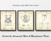 Coffee Related Patent Print Set of 3 - Kitchen Design Patents - Kitchen Decor - Coffee Shop Decor - Coffee Gift - Kitchen Wall Art - Vintage