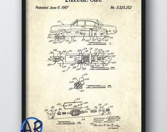 1967 Electric Car Art Print Print   Vintage Electric Car Poster Art   Toy  Car Blueprint Art   Man Cave Decor