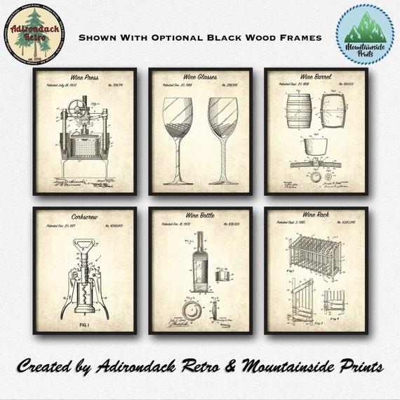 Wine Framed Patent Art Set 1 Wine Print Set Of 6 Wine Etsy - Vineyard-by-pack-a-rack