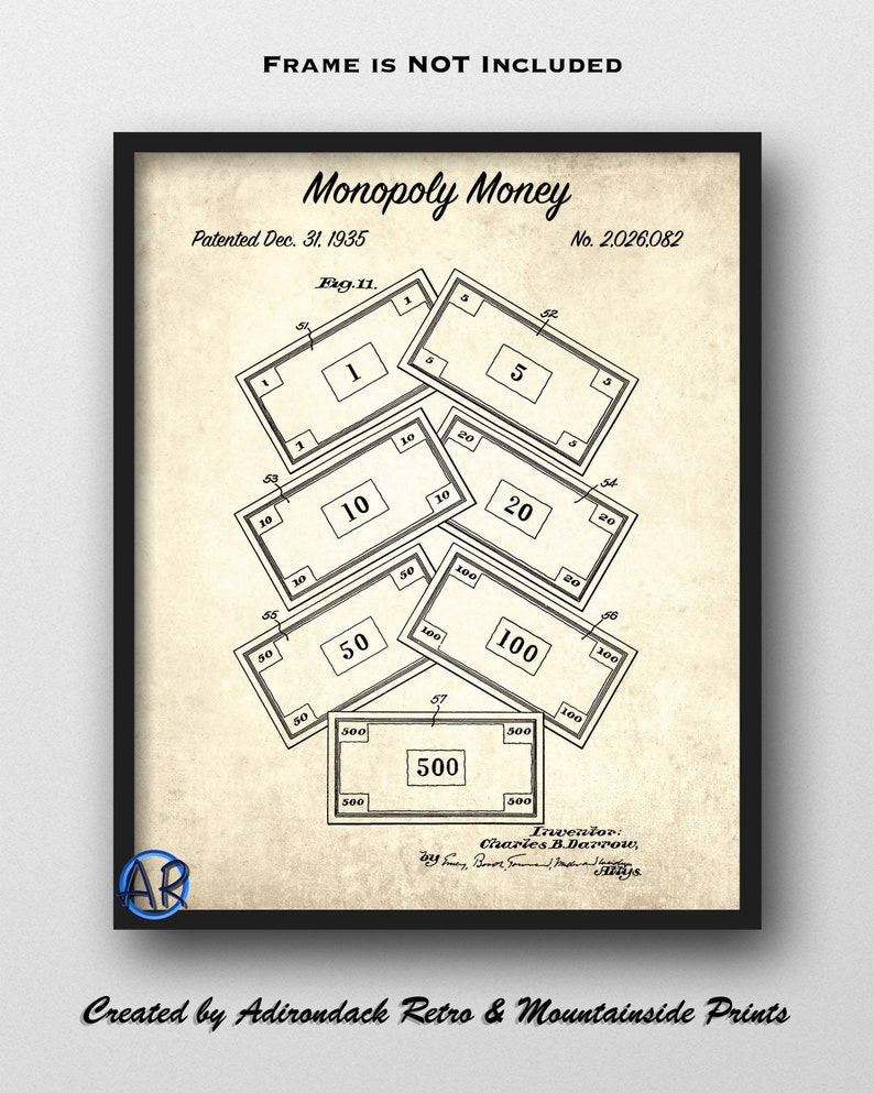 picture relating to Printable Monopoly Money known as Monopoly Dollars Patent Print - 1935 Monopoly Artwork Print - Monopoly Blueprint Artwork - Monopoly Poster - Video game Area Decor - Activity Board Wall Artwork