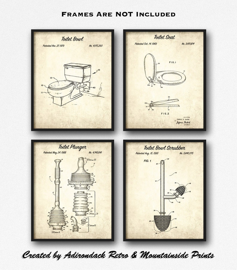 Bathroom Art Print Set Of 4: Vintage Bathroom Decor Patent Print Set Of 4 Toilet