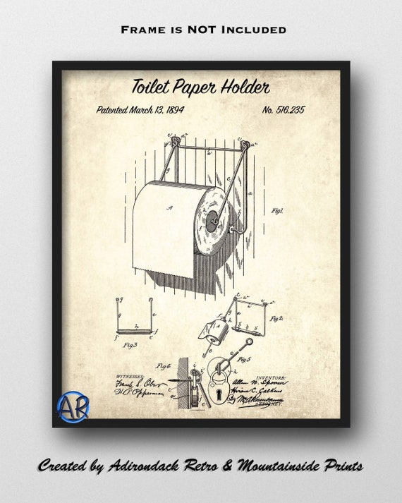 Toilet Bowl US Patent Art Print Plumber Vintage Antique Bathroom Decor 747