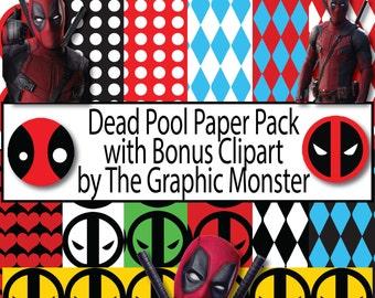 DeadPool Digital Paper, DeadPool Paper, Instant Download, DeadPool Scrapbook Paper, DeadPool Paper, Digital Scrapbook DeadPool