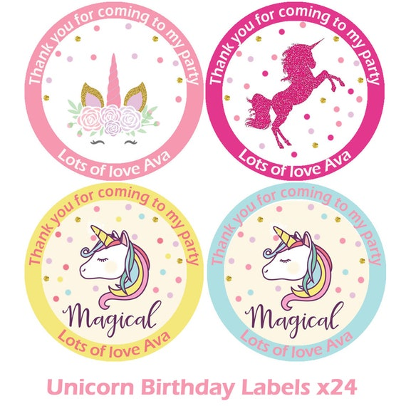 Party bag stickers personalised x24 unicorn sitting thank you sweet cone labels