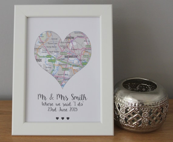 Personalised Love Heart couples print Anniversary gift Wedding Gift Engagement Gift