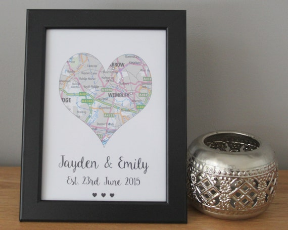 Personalised Love Heart Map