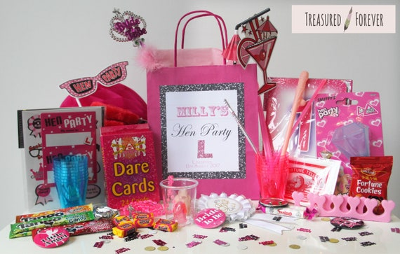 LIGHT PINK SASH HEN NIGHT PARTY GIFT BAGS FILLED-8 Items In Bag