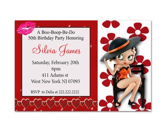 Personalized Printed Betty Boop Birthday Water Bottle Label