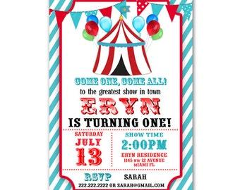 Personalized Circus Carnival Birthday Invitation Printable
