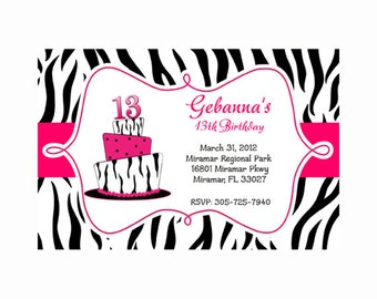 pink zebra print Birthday Party Printable Invitation