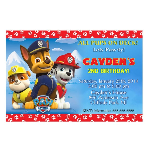 Personalized Paw Patrol Birthday Invitation Printable Or