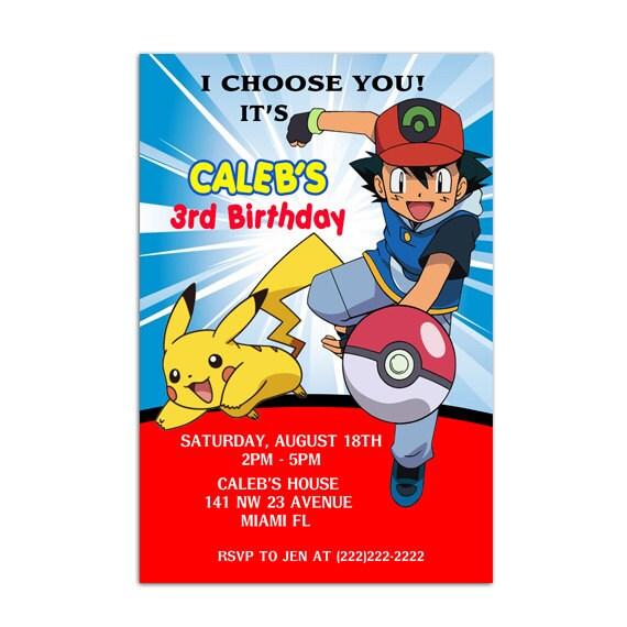 Pokemon Custom Birthday Invitations Boys Printable Or