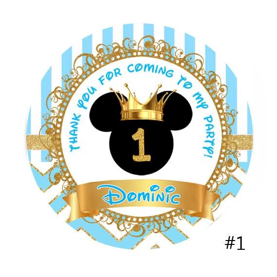 Prince Mickey Mouse Birthday Round Sticker Lollipop Label Etsy