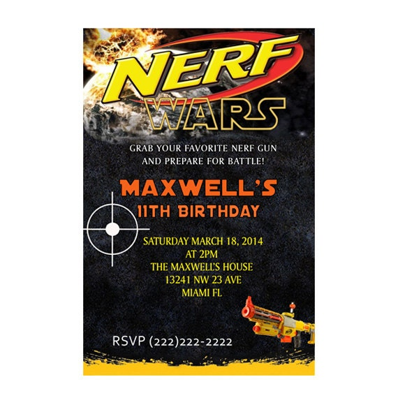 Personalized Nerf War Birthday Party Invitations - Printable or Printed