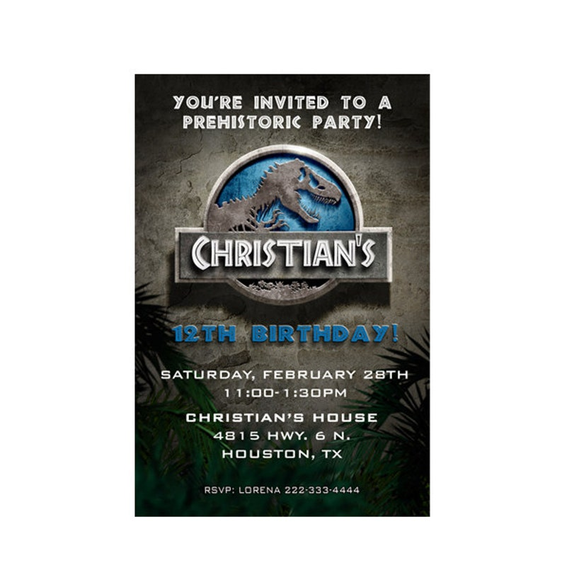 Jurassic World Birthday Invitation Park