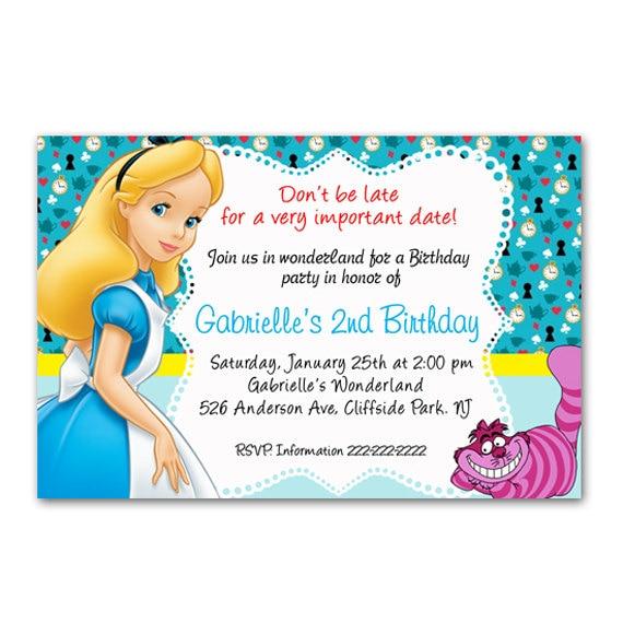 Printable File Alice In Wonderland Party Invitation Card Etsy