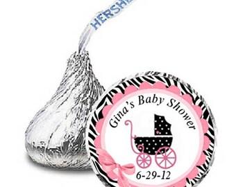 108 pink zebra Baby Shower Candy Kisses Label Favor Wrapper