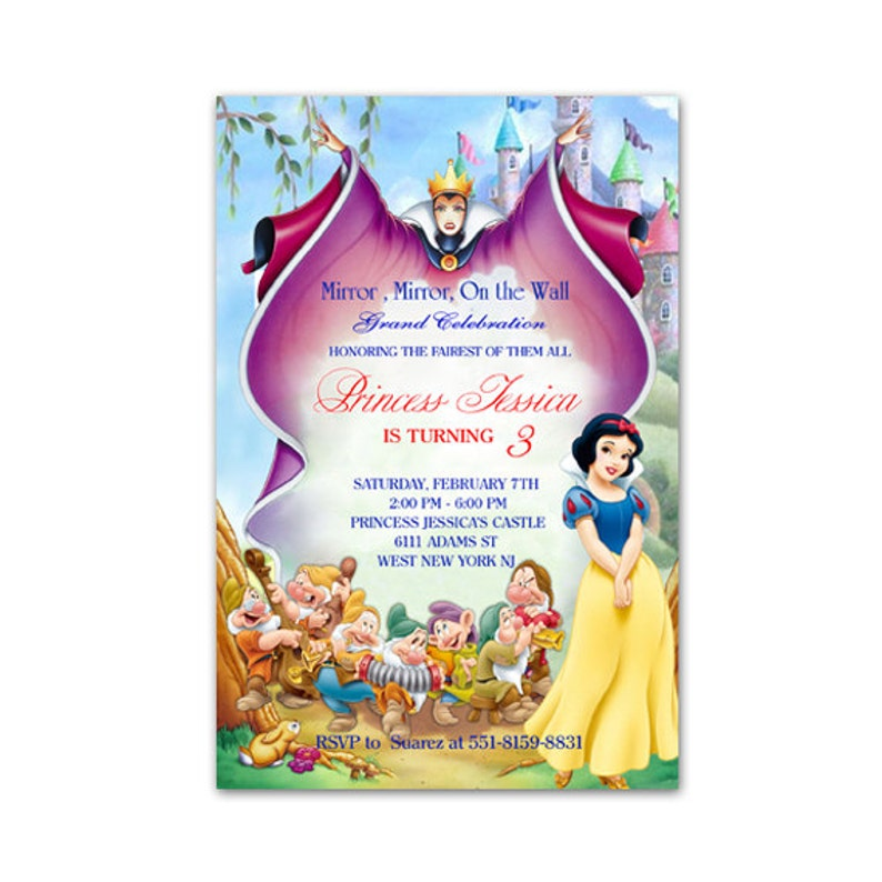 photograph relating to Snow White Invitations Printable named Snow White Birthday Invites - Web page 3 - Satisfied Birthday Visuals