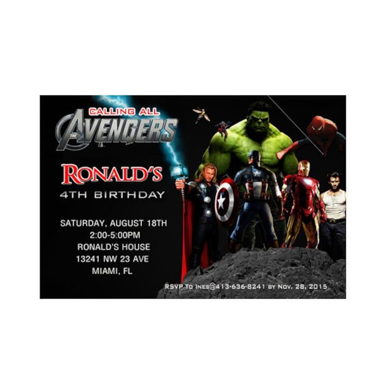 Avengers Birthday Invitation Printable
