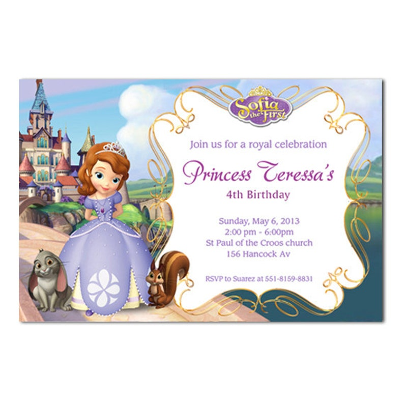 Sofia The First Birthday Invitation Cards Printable Or