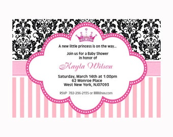 Printable File Pink Damask Princess Baby Shower Invitation