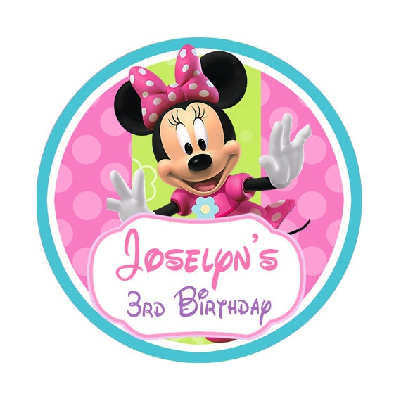 Minnie Mouse Bowtique Birthday Round Stickers Party Favor