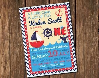 nautical birthday invitation sailboat o fishally one 1st etsy
