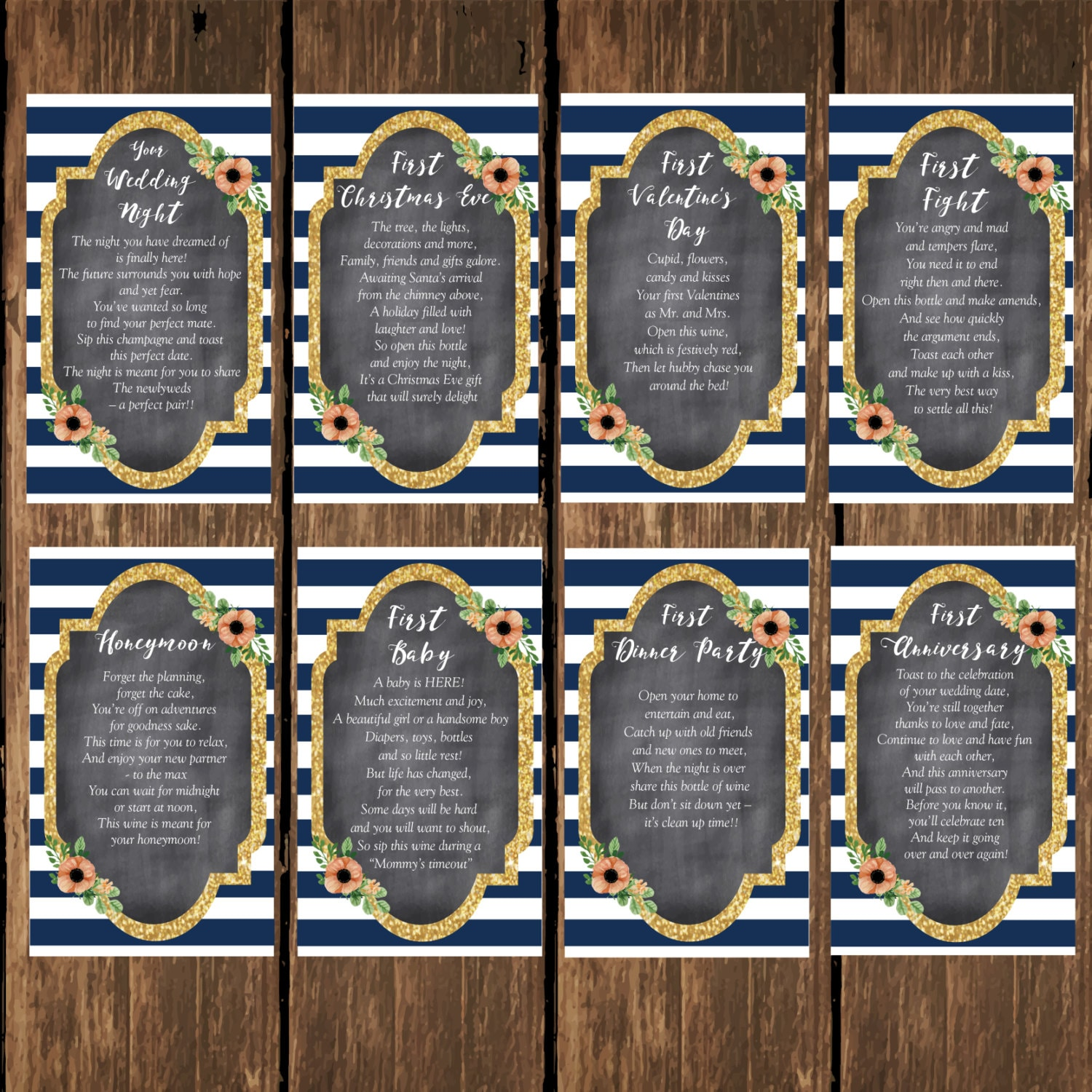 INSTANT DOWNLOAD, Wedding Printables, Bridal Shower Wine Tags with Poems  for Wedding Shower or Bachelorette Wine Gift Basket - Set of 8