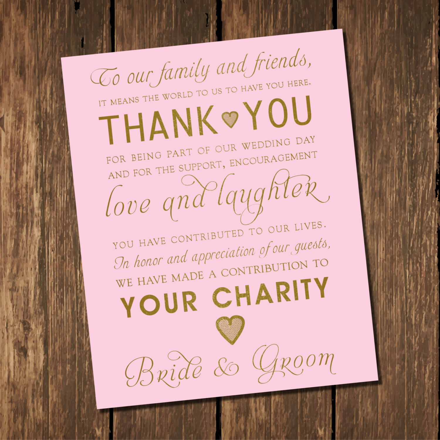 Wedding Printable\'s Pink and Gold Wedding Thank You Sign | Etsy