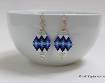Gold and Blue Ombre Earrings