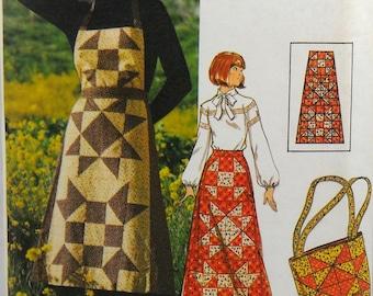 2c36ff357af39 UNCUT Butterick 4434 patchwork jumper, skirt, and tote bag, bust 31-32