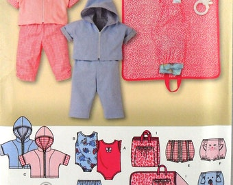 UNCUT Simplicity 3766 Baby pants, diaper cover, hoodie, body suit, and changing pad
