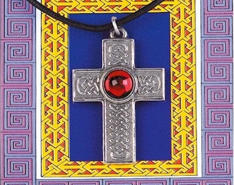 Cross Pendant Red/blue Gem (please specify color)