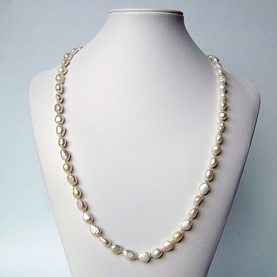 Freshwater Pearl White Drop Pearl Necklace Beaded Long Chain Rope Bead gift new