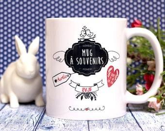 """Mug """"EVJF, Enterrement vie de jeune fille"""". Mug à souvenirs. Cadeau mariage, future mariée. Texte et graphisme by PIOU créations."""
