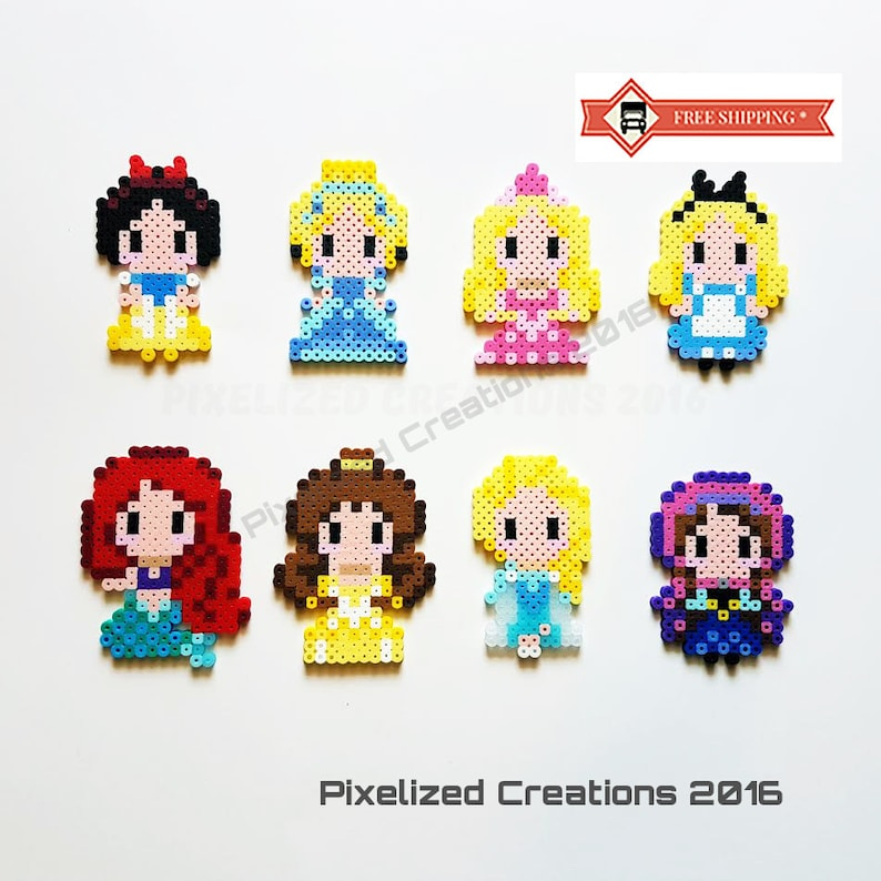 Fairy Tale Story Book Pixel Art Princess Keychains Bag Tags Or Zipper Pulls Choose From 8 Different Characters Like Cinderella Snow White