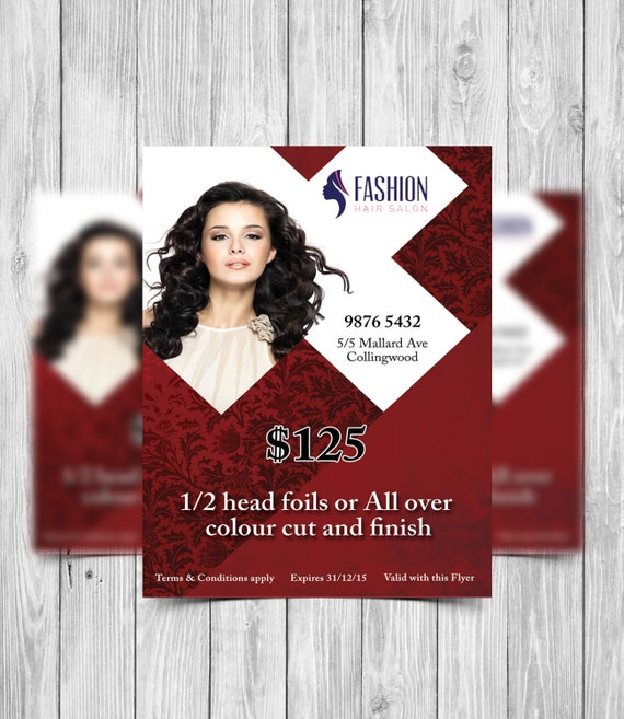Printable Flyer Template Hair Salon Flyer Beauty Salon Flyer Etsy