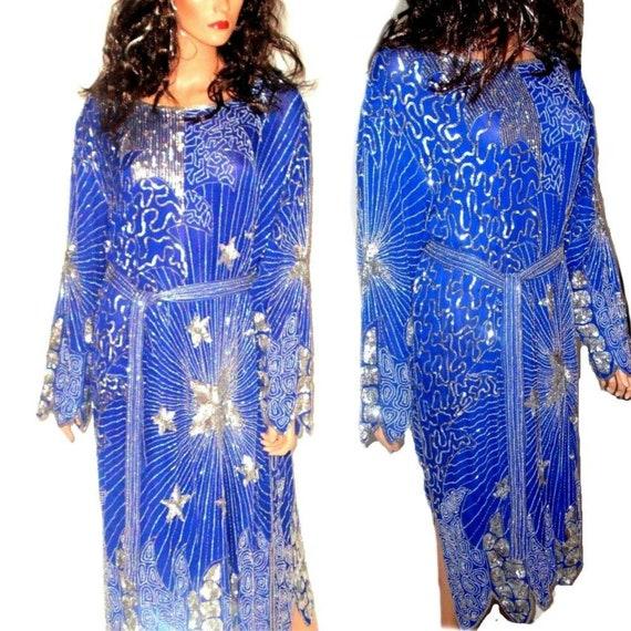 VTG. 80s Royal Blue Magical Stars Spider Web Beade