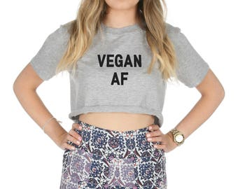 e46ceb0e065 Vegan AF Crop T-shirt Top Shirt Tee Cropped Fashion Feminist Feminism