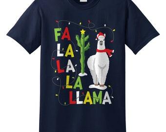 e9d80d2f Fa La La La Llama Christmas T-shirt Top Shirt Tee Funny Men's Kid's Women's  Xmas Alpaca Falalallama