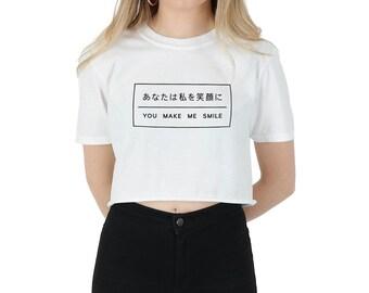 2592d4907c21e Japanese You Make Me Smile Crop Top T-shirt Shirt Tee Cropped Fashion  Blogger Slogan Tumblr Grunge