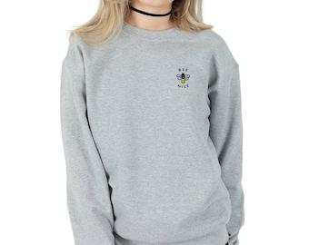 271cd141a8ce1 Bee Nice Pocket Sweater Jumper Top Fashion Sweatshirt Grunge Cute Be
